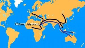 En violet, la route suivie il y a 70 000 ans par les ancêtres des Aborigènes. En noir, la migration plus tardive vers l'Europe et l'ensemble du continent asiatique.© Universcience